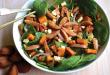Pumpkin, spinach and bunya nut salad